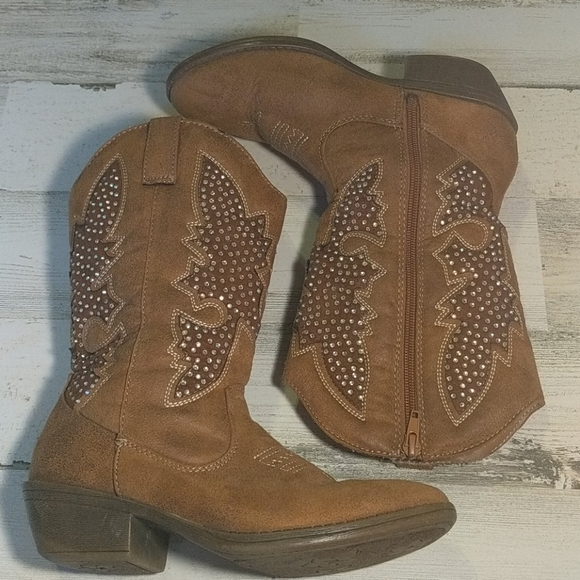 Justice Other - JUSTICE Tan Cowgirl Bling Boots Zipper Size 6